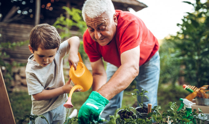 grandfather_grandson_garden